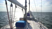 regata : White yacht sailing in the sea on the waves