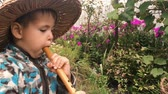apito : Baby boy in straw hat trying to play on wooden music instrument in green garden. Little cute boy enjoying to play on flute, close up side view