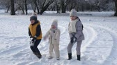 throws up : three children throws snow up in the air Stock Footage