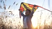 Техас : cheerful young boy holding colorful kite above his head standing in the grass at sunset, illuminated by sunlight warm summer evening