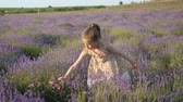 little girl on vacation summertime. lavender flowers collect in countryside Stok Video