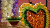 chef quipe : sweet heart decoration. concept holiday Stock Footage