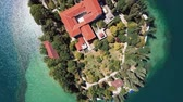 dalmácia : Aerial view of Monastery on island Visovac, Krka river canyon, Croatia