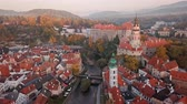 Влтава : Morning flight around old town Cesky Krumlov, South Bohemia, Czech Republic