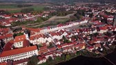 spirál : Flight around old town Telc, southern Moravia, Czech Republic Stock mozgókép