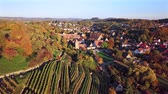 half timbered : Flight over Maulbronn old town and vineyards, Baden-Wurttemberg, Germany Stock Footage