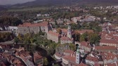 Влтава : Flight around old town Cesky Krumlov, South Bohemia, Czech Republic. Original untouched LOG format. Стоковые видеозаписи