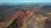 кальдера : Aerial view of Volcanic valley near Timanfaya National Park, Lanzarote, Canary islands, Spain