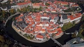 Влтава : Flight over old town Cesky Krumlov, South Bohemia, Czech Republic.