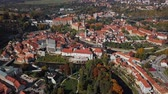 Flight over old town Cesky Krumlov, South Bohemia, Czech Republic.
