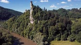 Словакия : Aerial view of Orava castle, one of the most beautiful castles in Slovakia Стоковые видеозаписи