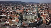 fire car : Aerial panorama of old town Sopron, Hungary Stock Footage
