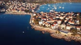 dalmatia : Aerial panorama of marina and resort adriatic town Primosten, Croatia.
