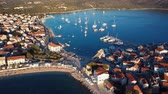 Aerial panorama of marina and resort adriatic town Primosten, Croatia.