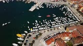 Flight over harbor and old town Rovinj, Istria, Croatia.