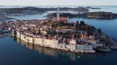 adriai : Morning aerial panorama of old town Rovinj, with reflection at the sea. Istria, Croatia.