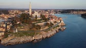 Flight around old town Rovinj, Istria, Croatia