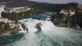 Aerial panorama of Rhine Falls, the largest waterfall in Switzerland and Europe.