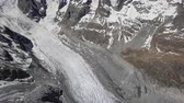 Aerial panorama of Morteratsch Glacier from Diavolezza mountain viewpoint in Bernina Range of the Bundner Alps, in Graubunden, Switzerland.