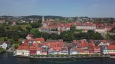 Aerial panorama of Meersburg old town on Lake Constance (Bodensee), Germany