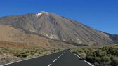 meddő : POV car travelling by road to Teide volcano, Teide National Park, Tenerife, Canary islands, Spain