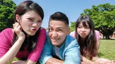 university : young people making selfie and grimacing with opened mouth