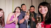 young people take champagne and selfie happily with party