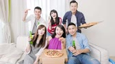 young people eat pizza and selfie happily with party Stock Footage
