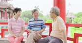 fofoca : old people sit in pavilion and chatting happily Stock Footage