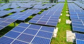 fuel and power generation : aerial shot of solar panels in the taipei Stock Footage