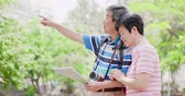 aposentar : old couple go travel in the park Stock Footage