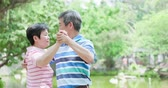 aposentar : old couple feel enjoy and dance in the park Stock Footage
