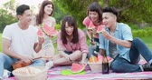 kavun : friends eat watermelon happily at a picnic Stok Video