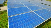 solar energy : close up of solar panels in the outdoor Stock Footage
