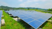 technology : close up of solar panels in the outdoor Stock Footage