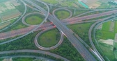 road top view : aerial view of highway interchange in tainan at night