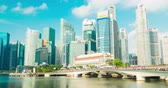 singapore : central business district, Singapore - July 25, 2018: Timelapse view showing at CBD skyline waterfront Stock Footage