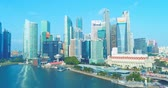 singapore : central business district, Singapore - July 25, 2018: aerial view showing at CBD skyline waterfront