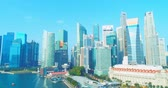 cbd : central business district, Singapore - July 25, 2018: aerial view showing at CBD skyline waterfront