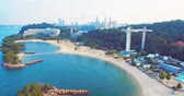 singapore : Sentosa, Singapore - July 23, 2018: aerial view of coastline