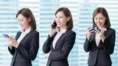 říci : vertical video of asian business woman use smart phone in the office