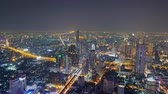skywalk : Bangkok, Thailand - January 26, 2019: Time-lapse of beautiful city view at night