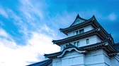 půvab : 4K Historical Japanese Castle Sunset Sky Timelapse Ancient Castle Sunset