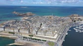 harbour : Aerial view of the beautiful city of Privateers - Saint Malo in Brittany, France Filmati Stock