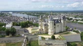 french : Aerial view of Castle and Loire Valley, France.Saumur Castle was built in the tenth century and rebuilt in the late twelfth century Stock Footage