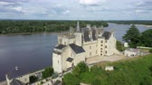 památka : Aerial view of Castle of Montsoreau at the confluence of the Loire and Vienne rivers. Montsoreau (Labeled The Most Beautiful Villages of France), Maine-et-Loire, Dostupné videozáznamy