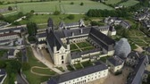 památka : Aerial view of Abbey of Fontevraud, Anjou, Fontevraud Abbey, Maine-et-Loire department, Loire Valley, Loire Valley, UNESCO World Heritage Site, France,