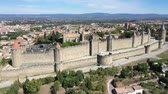 french : Aerial view of Carcassonne medieval city and fortress castle from above, Sourthern France