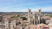 appunto : Aerial view of Narbonne with Saint Just and Saint Pasteur Cathedral Filmati Stock