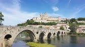 santi : Aerial view of Beziers city with St Nazaire Cathedral and old bridge Filmati Stock